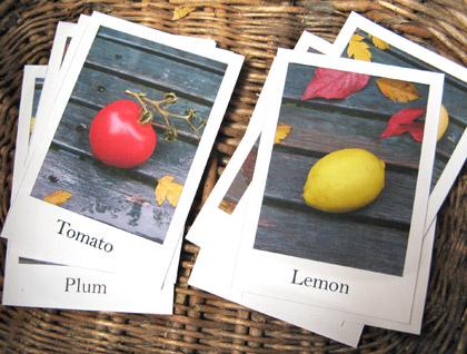 بطاقات الخضروات والفواكه